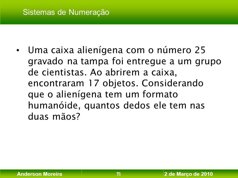 Anderson Moreira TI 2 de Março de 2010 Uma caixa alienígena com o número 25 gravado na tampa foi entregue a um grupo de cientistas. Ao abrirem a caixa