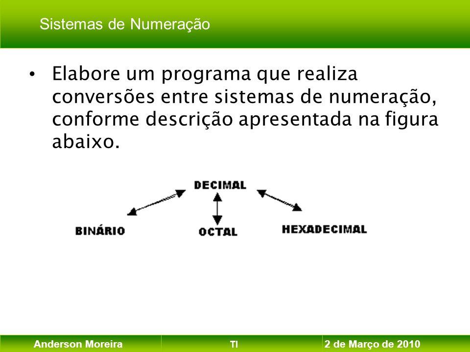 Anderson Moreira TI 2 de Março de 2010 Elabore um programa que realiza conversões entre sistemas de numeração, conforme descrição apresentada na figur