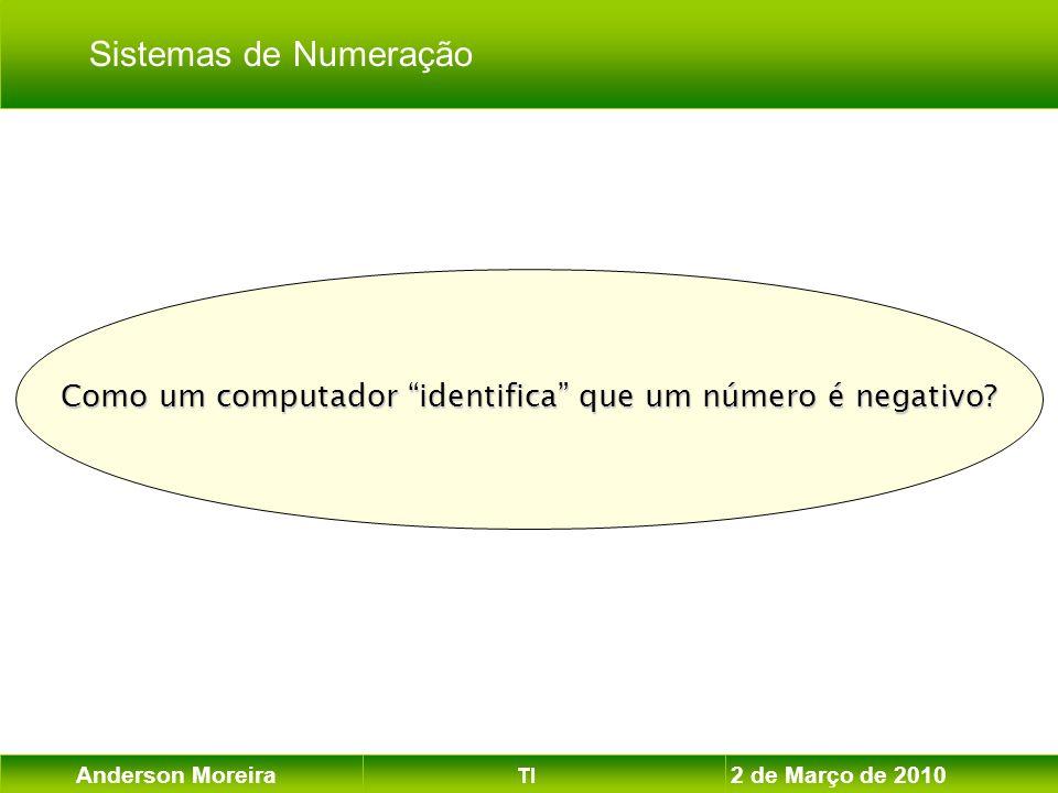 Anderson Moreira TI 2 de Março de 2010 Como um computador identifica que um número é negativo? Sistemas de Numeração
