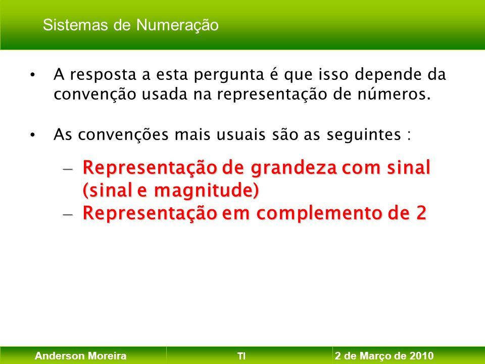 Anderson Moreira TI 2 de Março de 2010 A resposta a esta pergunta é que isso depende da convenção usada na representação de números. As convenções mai
