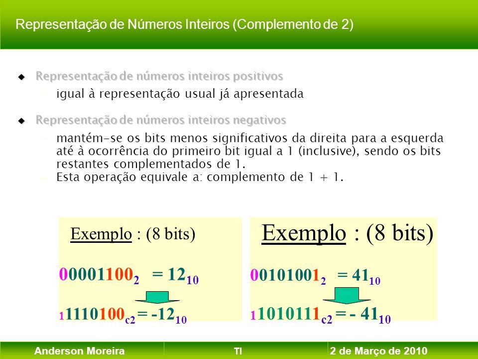 Anderson Moreira TI 2 de Março de 2010 Exemplo : (8 bits) 00101001 2 = 41 10 1 1010111 c2 = - 41 10 Exemplo : (8 bits) 00001100 2 = 12 10 1 1110100 c2