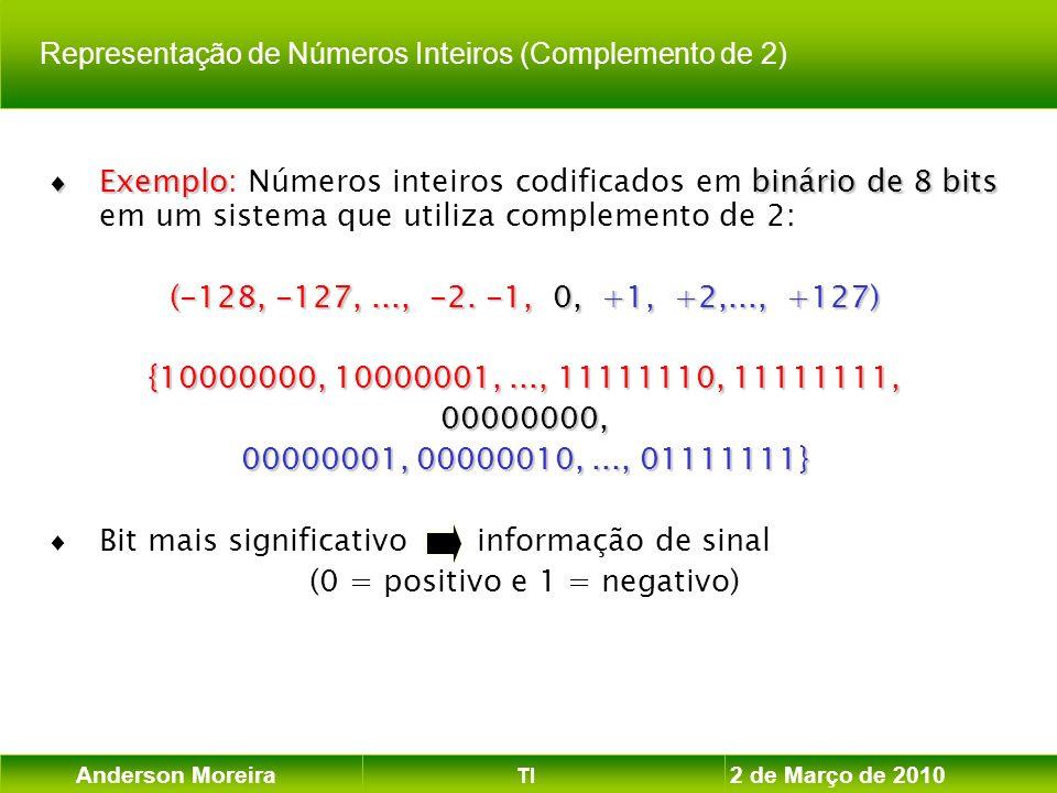 Anderson Moreira TI 2 de Março de 2010 Exemplobinário de 8 bits Exemplo: Números inteiros codificados em binário de 8 bits em um sistema que utiliza c