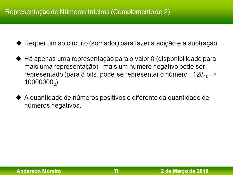 Anderson Moreira TI 2 de Março de 2010 Requer um só circuito (somador) para fazer a adição e a subtração. Há apenas uma representação para o valor 0 (