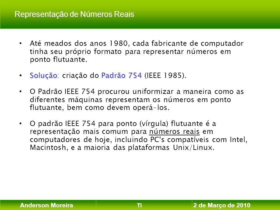 Anderson Moreira TI 2 de Março de 2010 Até meados dos anos 1980, cada fabricante de computador tinha seu próprio formato para representar números em p