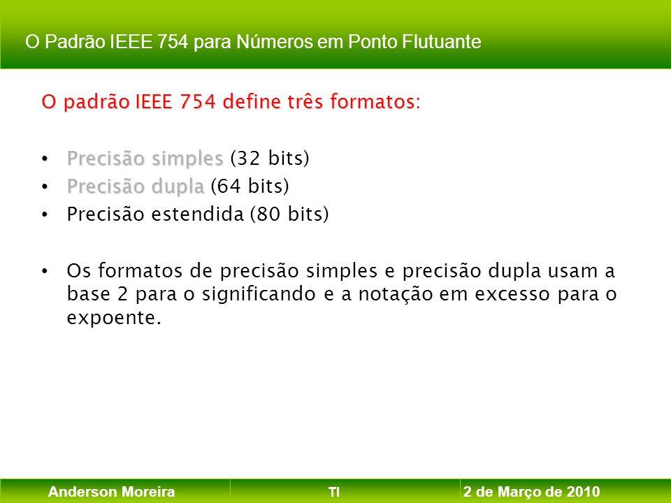 Anderson Moreira TI 2 de Março de 2010 O padrão IEEE 754 define três formatos O padrão IEEE 754 define três formatos: Precisão simples Precisão simple