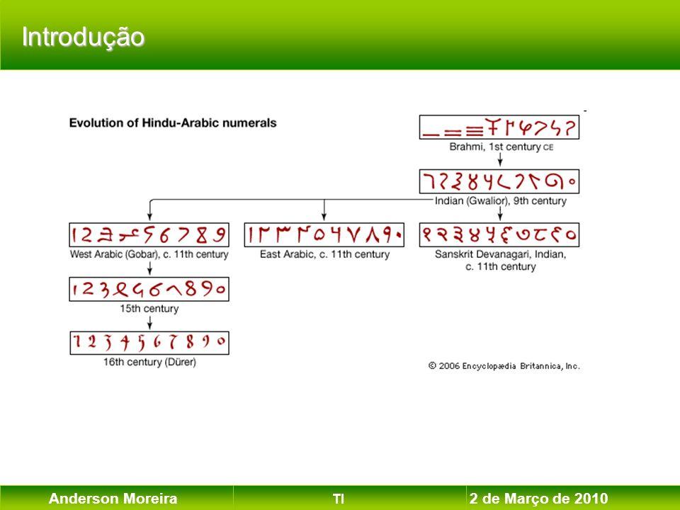 Anderson Moreira TI 2 de Março de 2010 Como um computador identifica que um número é negativo.