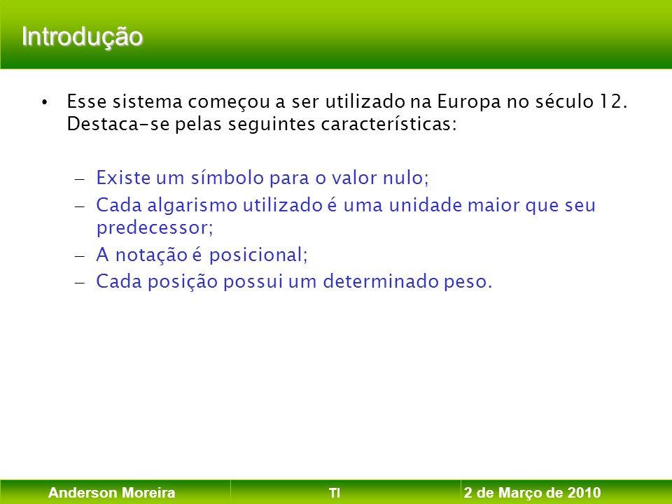 Anderson Moreira TI 2 de Março de 2010 Introdução Esse sistema começou a ser utilizado na Europa no século 12. Destaca-se pelas seguintes característi