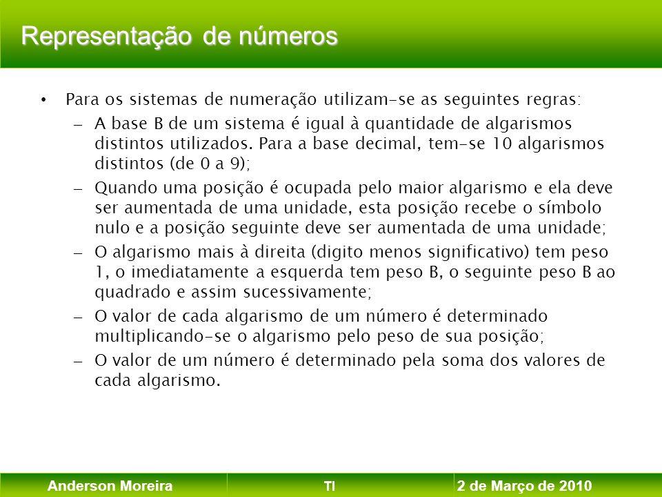 Anderson Moreira TI 2 de Março de 2010 Exemplobinário de 8 bits Exemplo: Números inteiros codificados em binário de 8 bits em um sistema que utiliza complemento de 2: (-128, -127,..., -2.