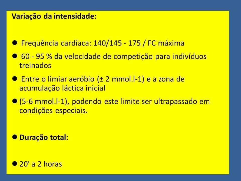 Variação da intensidade: Frequência cardíaca: 140/145 - 175 / FC máxima 60 - 95 % da velocidade de competição para indivíduos treinados Entre o limiar