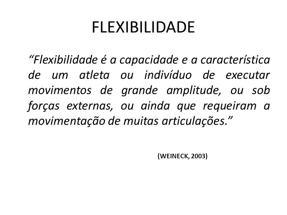 Flexibilidade é a capacidade e a característica de um atleta ou indivíduo de executar movimentos de grande amplitude, ou sob forças externas, ou ainda