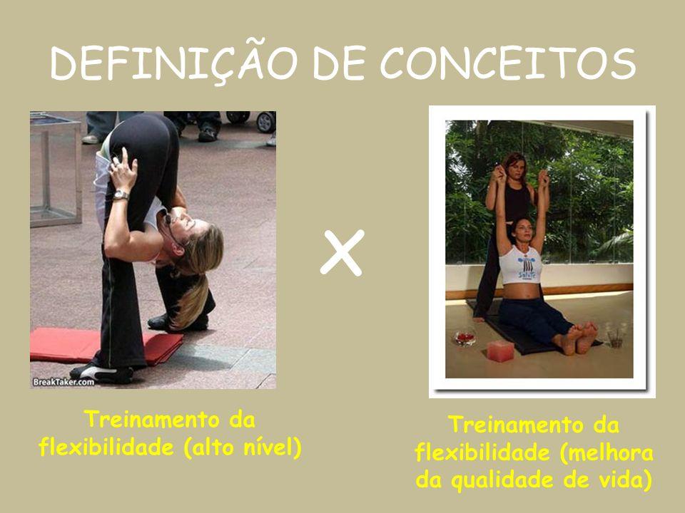 DEFINIÇÃO DE CONCEITOS Treinamento da flexibilidade (alto nível) Treinamento da flexibilidade (melhora da qualidade de vida) x