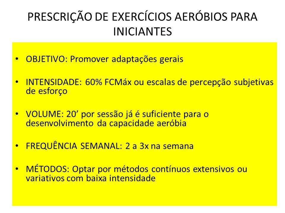 PRESCRIÇÃO DE EXERCÍCIOS AERÓBIOS PARA INICIANTES OBJETIVO: Promover adaptações gerais INTENSIDADE: 60% FCMáx ou escalas de percepção subjetivas de es