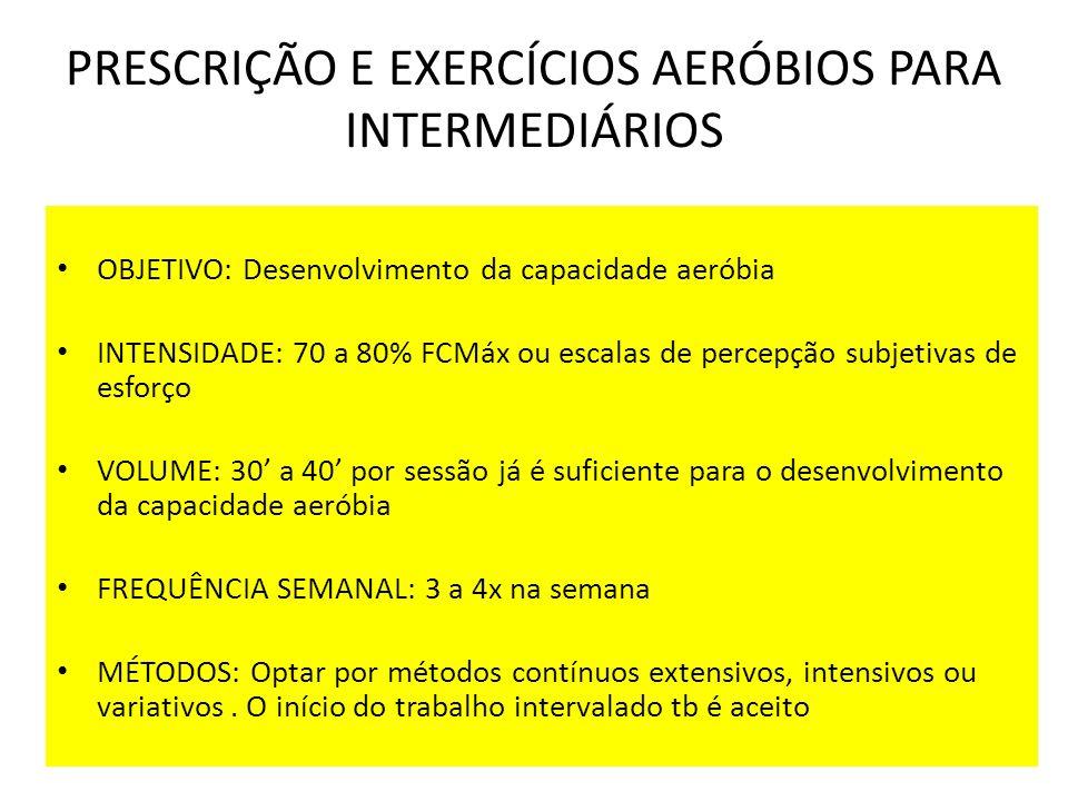 PRESCRIÇÃO E EXERCÍCIOS AERÓBIOS PARA INTERMEDIÁRIOS OBJETIVO: Desenvolvimento da capacidade aeróbia INTENSIDADE: 70 a 80% FCMáx ou escalas de percepç