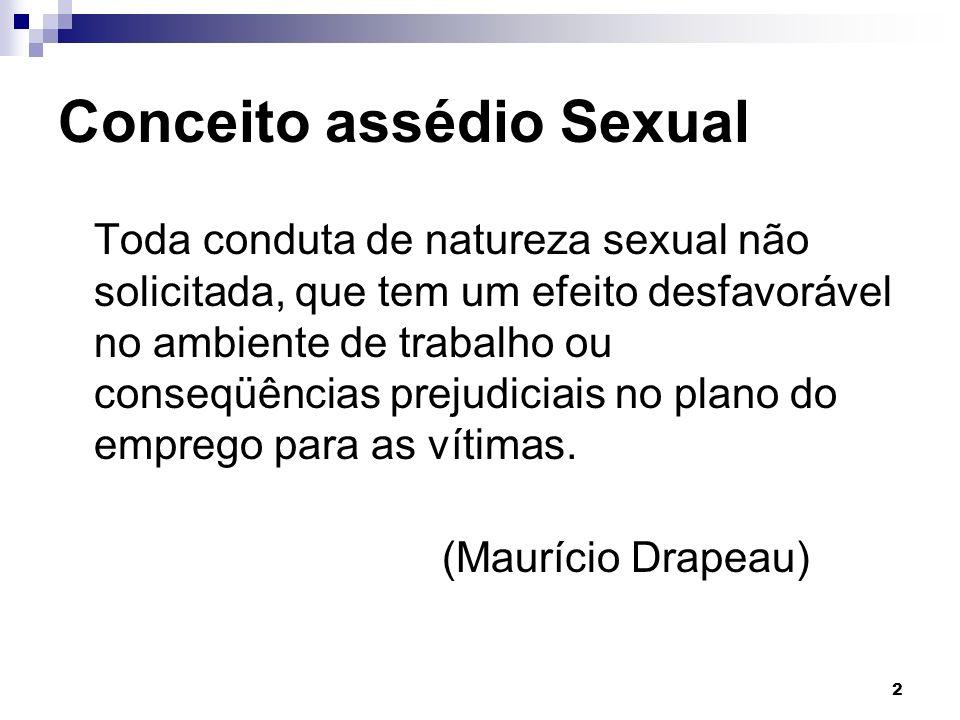 2 Conceito assédio Sexual Toda conduta de natureza sexual não solicitada, que tem um efeito desfavorável no ambiente de trabalho ou conseqüências prej