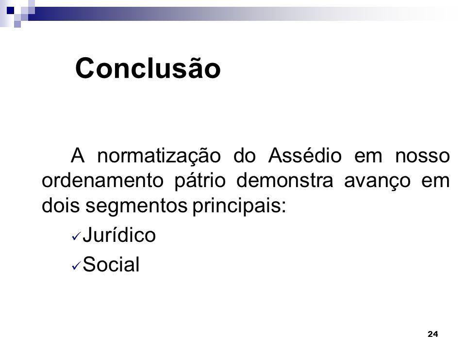 24 Conclusão A normatização do Assédio em nosso ordenamento pátrio demonstra avanço em dois segmentos principais: Jurídico Social