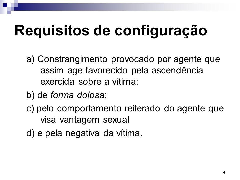 4 Requisitos de configuração a) Constrangimento provocado por agente que assim age favorecido pela ascendência exercida sobre a vítima; b) de forma do