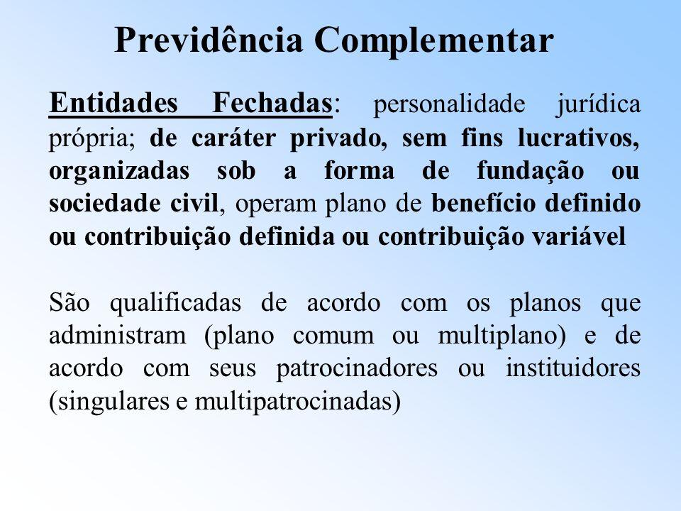 Previdência Complementar Ordenamento jurídico -Leis 6.435, de 15/07/77 e 8.020/90 Organização inicial do sistema. -Leis Complementares 108 e 109, de 2