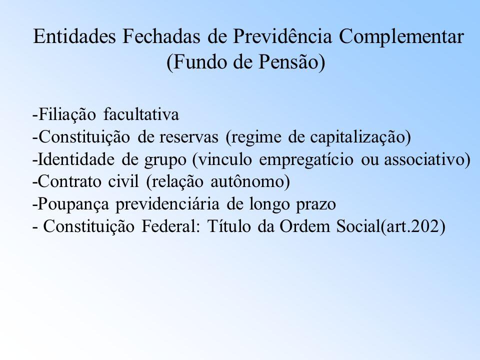 Entidades Fechadas de Previdência Complementar (Fundo de Pensão) -Patrocinador: empresa ou grupo de empresa (U/E/M), que instituam para seus empregado