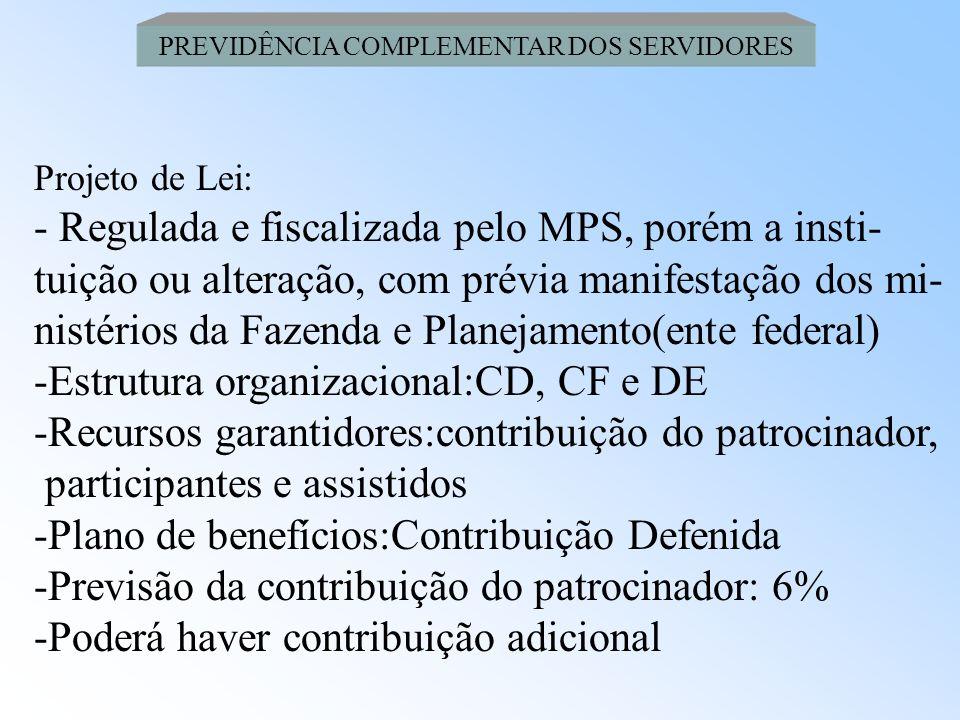 PREVIDÊNCIA COMPLEMENTAR DOS SERVIDORES Projeto de Lei: - Natureza Jurídica: Fundação, sem fins lucrativos, de natureza pública e com personalidade ju