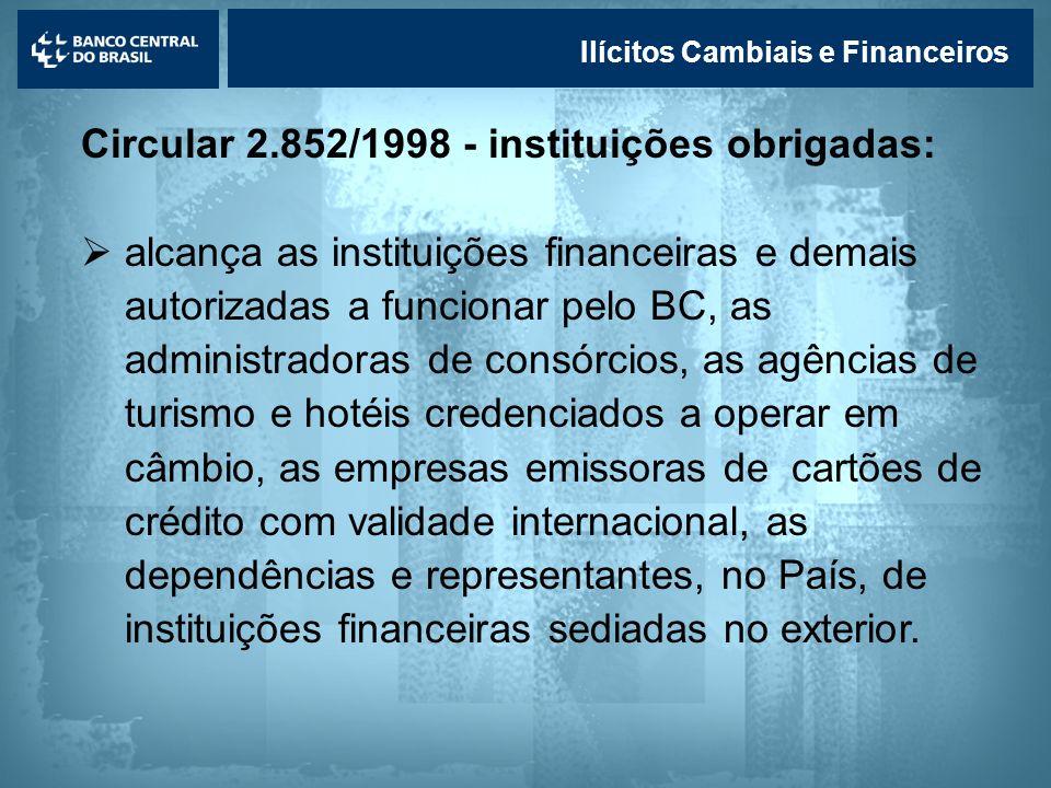 Lavagem de dinheiro Ilícitos Cambiais e Financeiros Circular 2.852/1998 - instituições obrigadas: alcança as instituições financeiras e demais autoriz