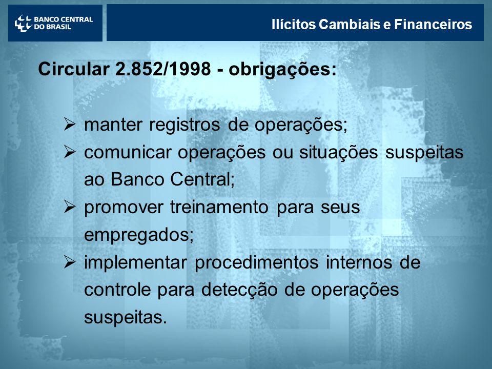 Lavagem de dinheiro Ilícitos Cambiais e Financeiros Circular 2.852/1998 - obrigações: manter registros de operações; comunicar operações ou situações
