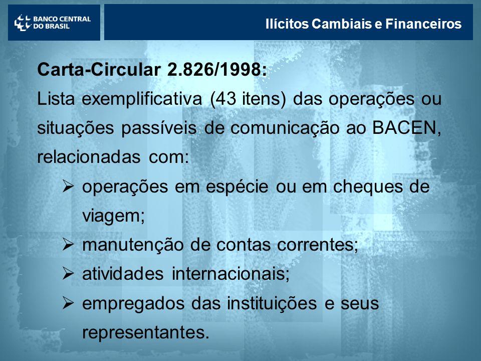 Lavagem de dinheiro Ilícitos Cambiais e Financeiros Carta-Circular 2.826/1998: Lista exemplificativa (43 itens) das operações ou situações passíveis d