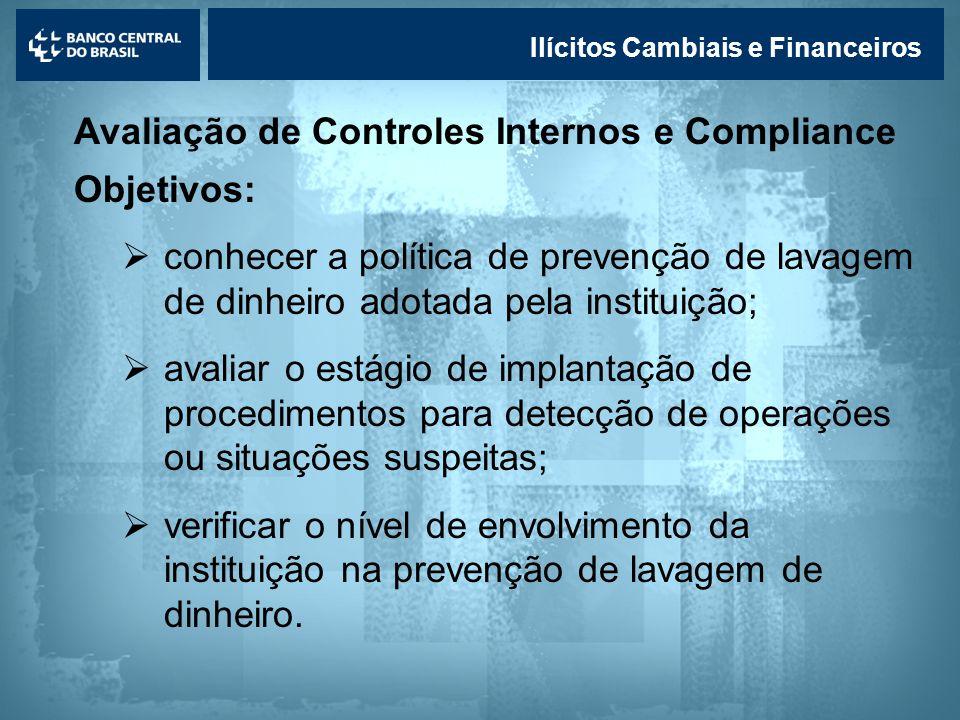 Lavagem de dinheiro Ilícitos Cambiais e Financeiros Avaliação de Controles Internos e Compliance Objetivos: conhecer a política de prevenção de lavage