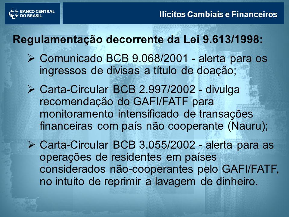 Lavagem de dinheiro Ilícitos Cambiais e Financeiros Regulamentação decorrente da Lei 9.613/1998: Comunicado BCB 9.068/2001 - alerta para os ingressos
