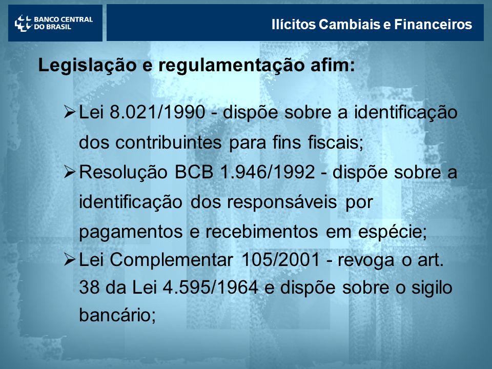 Lavagem de dinheiro Ilícitos Cambiais e Financeiros Legislação e regulamentação afim: Lei 8.021/1990 - dispõe sobre a identificação dos contribuintes
