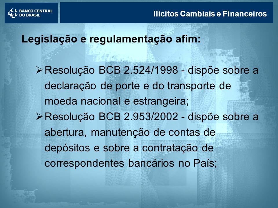 Lavagem de dinheiro Ilícitos Cambiais e Financeiros Legislação e regulamentação afim: Resolução BCB 2.524/1998 - dispõe sobre a declaração de porte e