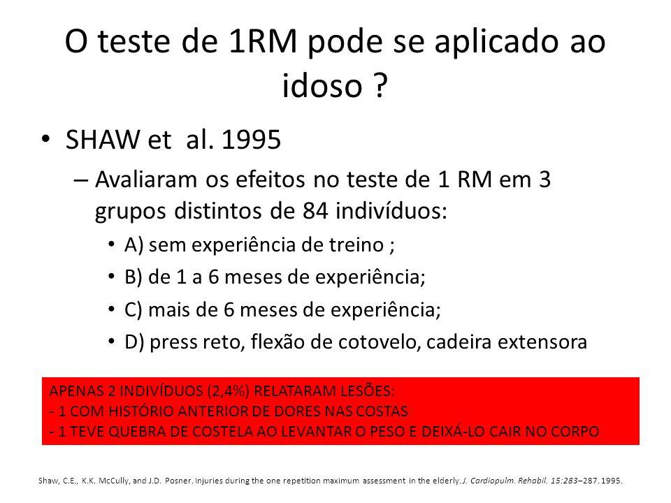 O teste de 1RM pode se aplicado ao idoso ? SHAW et al. 1995 – Avaliaram os efeitos no teste de 1 RM em 3 grupos distintos de 84 indivíduos: A) sem exp