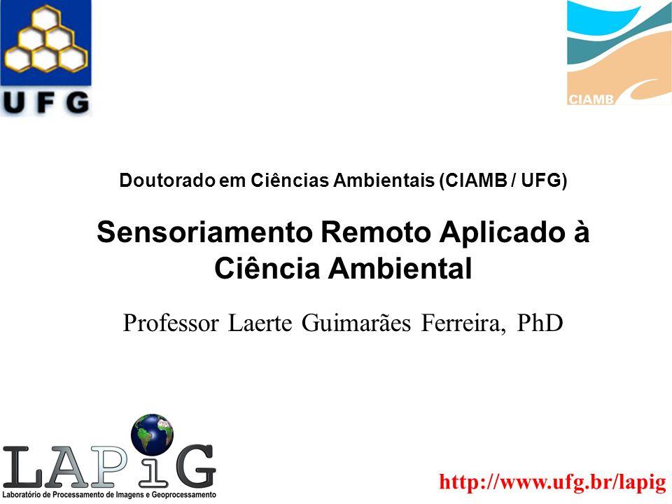 Doutorado em Ciências Ambientais (CIAMB / UFG) Sensoriamento Remoto Aplicado à Ciência Ambiental Professor Laerte Guimarães Ferreira, PhD http://www.u