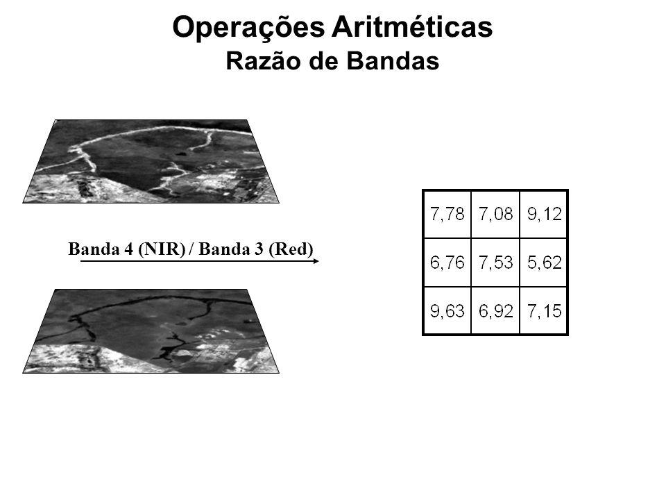 Operações Aritméticas Razão de Bandas Banda 4 (NIR) / Banda 3 (Red)