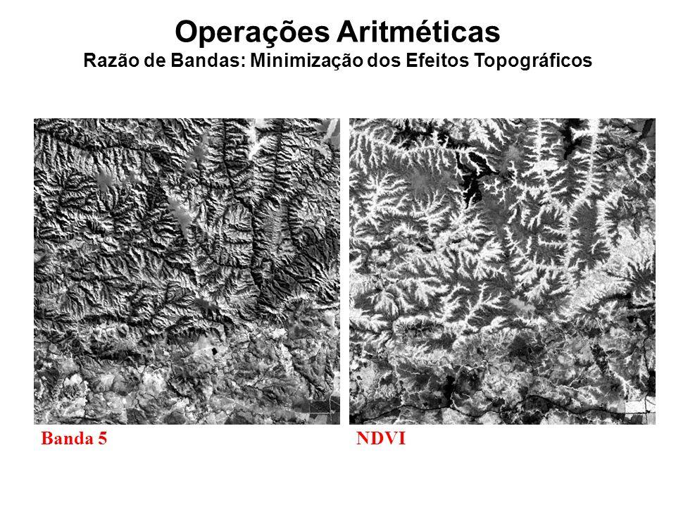 Operações Aritméticas Razão de Bandas: Minimização dos Efeitos Topográficos Banda 5NDVI