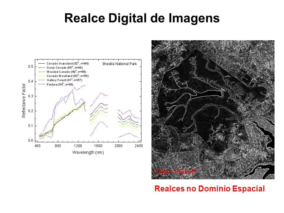 Realce Digital de Imagens Valores Numéricos!!! Manipulações Algébricas Computacionais Discretas Respostas Espaciais Espectrais Realce no Domínio Espec