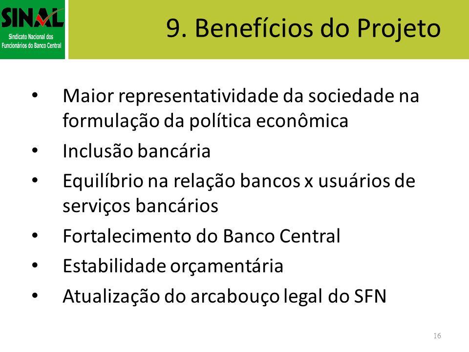 9. Benefícios do Projeto Maior representatividade da sociedade na formulação da política econômica Inclusão bancária Equilíbrio na relação bancos x us