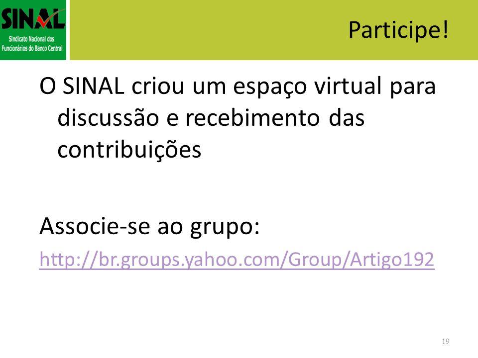 19 O SINAL criou um espaço virtual para discussão e recebimento das contribuições Associe-se ao grupo: http://br.groups.yahoo.com/Group/Artigo192 Part
