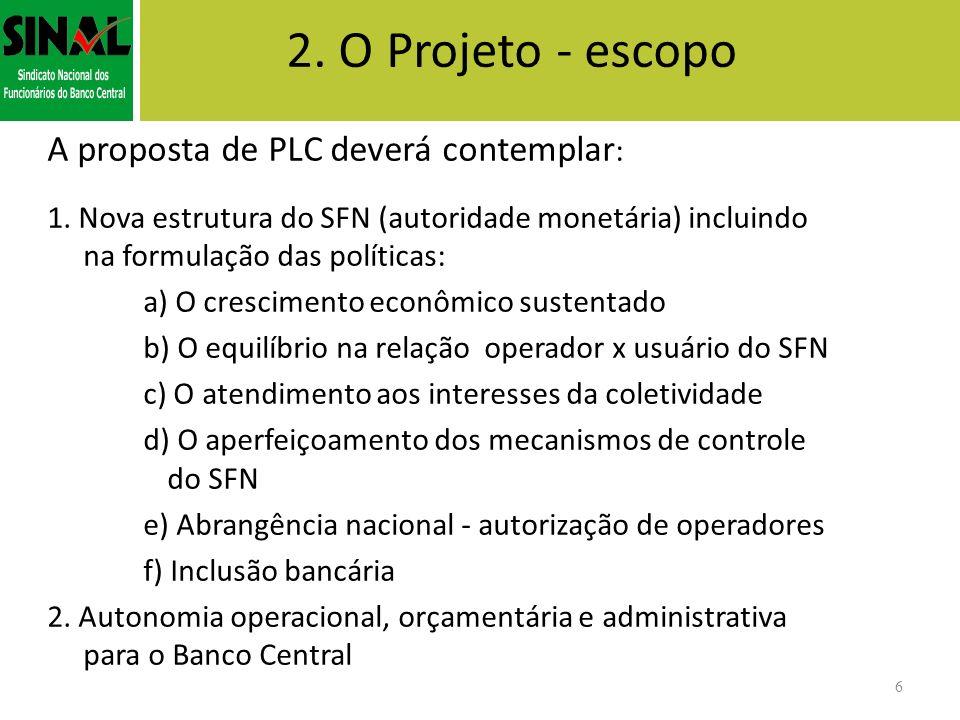 2. O Projeto - escopo A proposta de PLC deverá contemplar : 1. Nova estrutura do SFN (autoridade monetária) incluindo na formulação das políticas: a)
