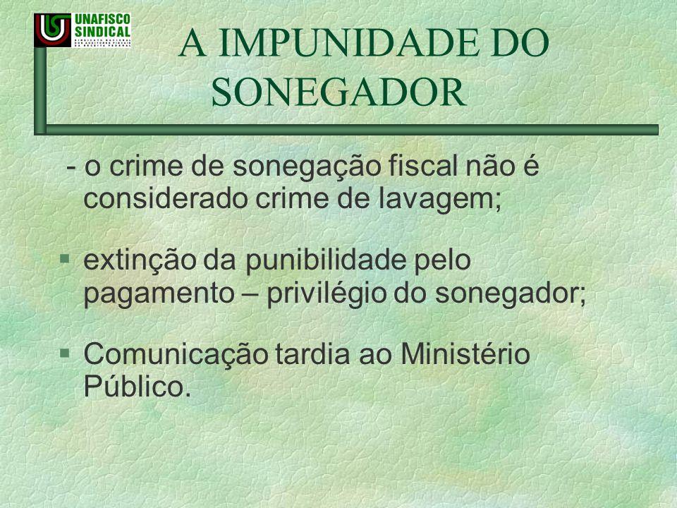 A IMPUNIDADE DO SONEGADOR - o crime de sonegação fiscal não é considerado crime de lavagem; §extinção da punibilidade pelo pagamento – privilégio do s