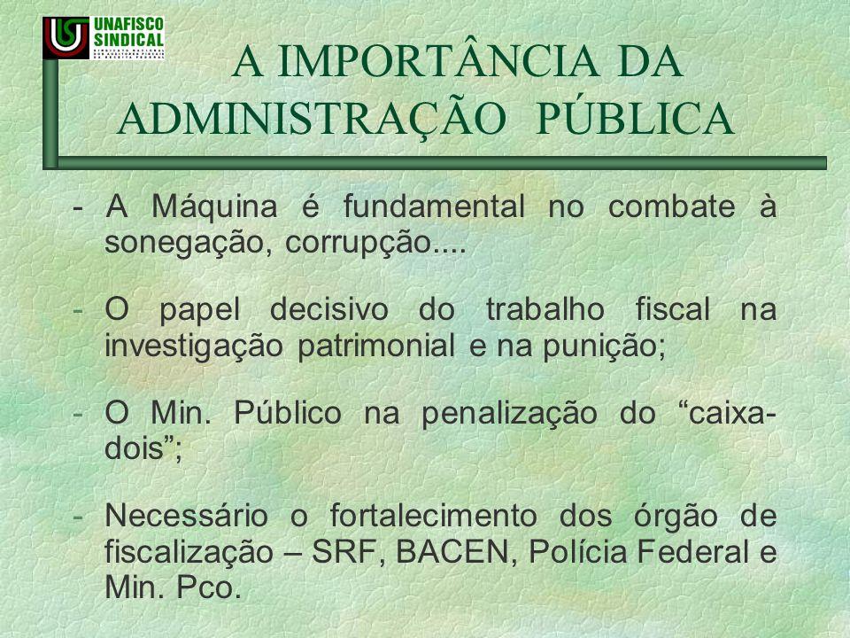 A IMPORTÂNCIA DA ADMINISTRAÇÃO PÚBLICA - A Máquina é fundamental no combate à sonegação, corrupção.... -O papel decisivo do trabalho fiscal na investi