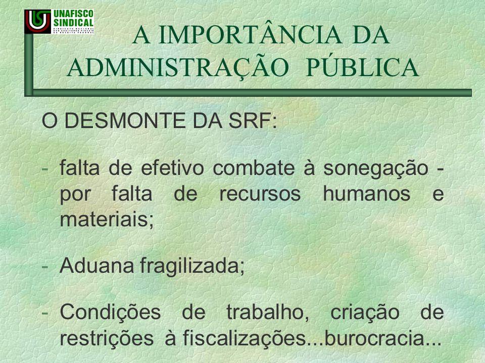 A IMPORTÂNCIA DA ADMINISTRAÇÃO PÚBLICA O DESMONTE DA SRF: -falta de efetivo combate à sonegação - por falta de recursos humanos e materiais; -Aduana f