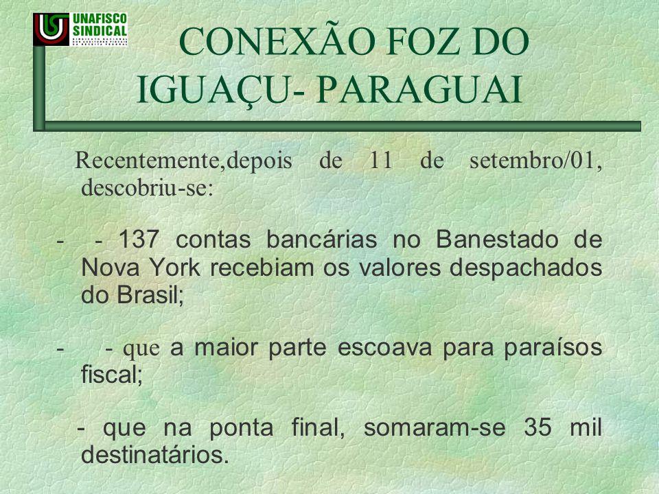 CONEXÃO FOZ DO IGUAÇU- PARAGUAI Recentemente,depois de 11 de setembro/01, descobriu-se: - - 137 contas bancárias no Banestado de Nova York recebiam os