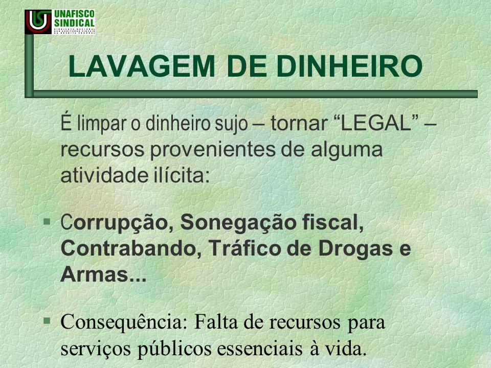 É limpar o dinheiro sujo – tornar LEGAL – recursos provenientes de alguma atividade ilícita: C orrupção, Sonegação fiscal, Contrabando, Tráfico de Dro