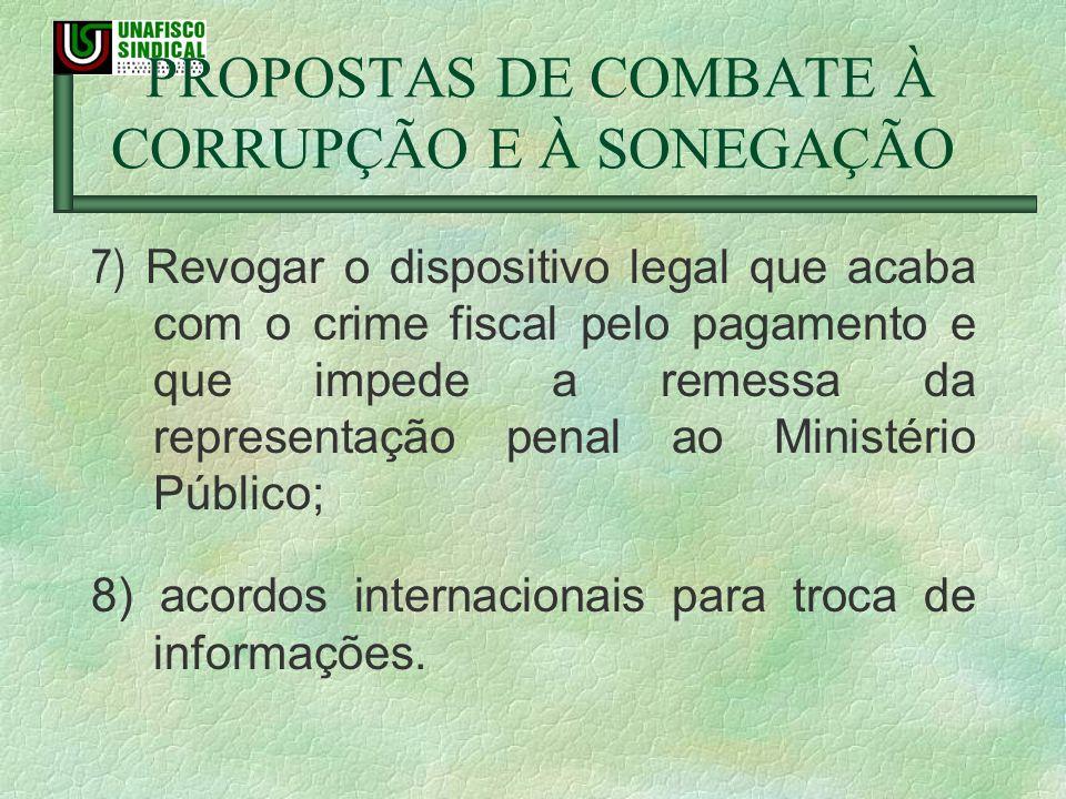 PROPOSTAS DE COMBATE À CORRUPÇÃO E À SONEGAÇÃO 7) Revogar o dispositivo legal que acaba com o crime fiscal pelo pagamento e que impede a remessa da re