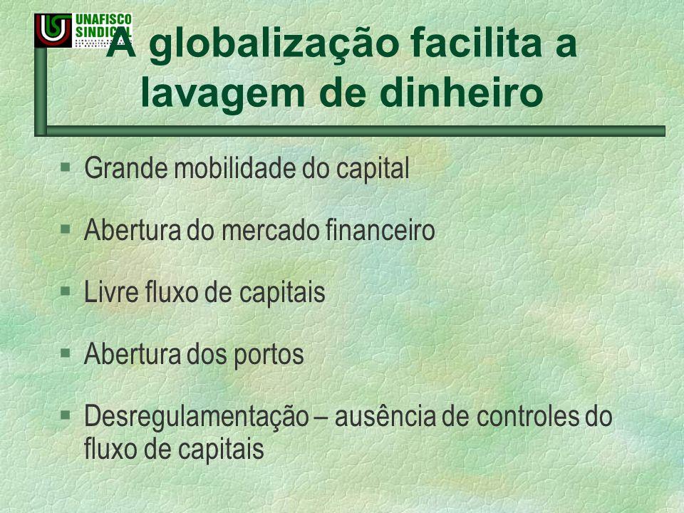 A globalização facilita a lavagem de dinheiro § Grande mobilidade do capital § Abertura do mercado financeiro § Livre fluxo de capitais § Abertura dos
