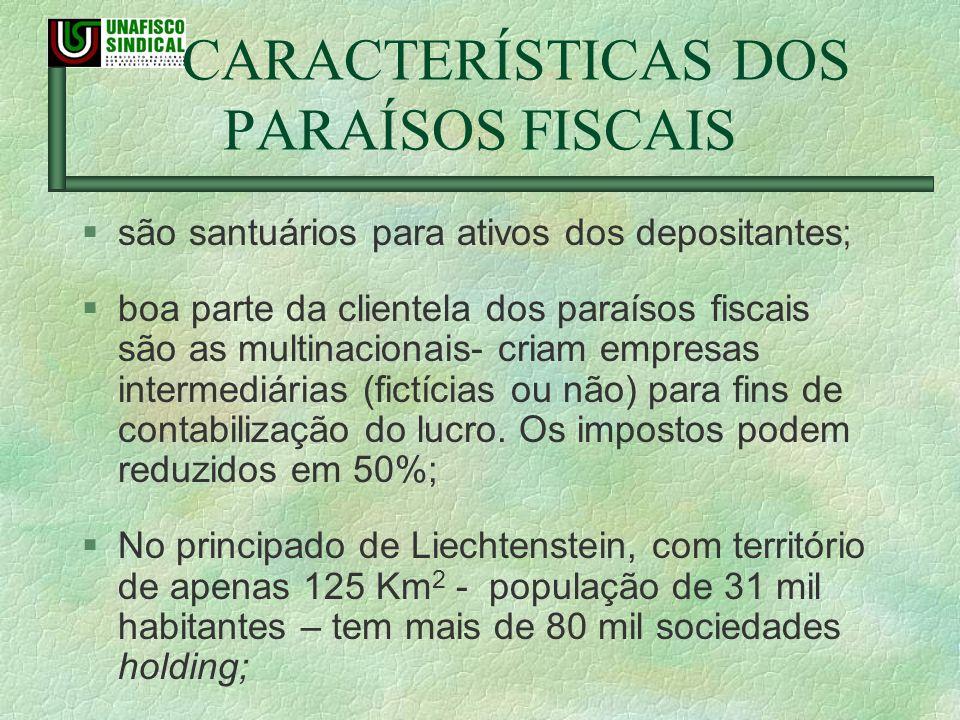 CARACTERÍSTICAS DOS PARAÍSOS FISCAIS são santuários para ativos dos depositantes ; boa parte da clientela dos paraísos fiscais são as multinacionais-