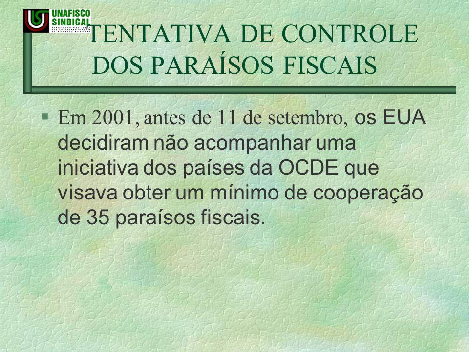TENTATIVA DE CONTROLE DOS PARAÍSOS FISCAIS Em 2001, antes de 11 de setembro, os EUA decidiram não acompanhar uma iniciativa dos países da OCDE que vis