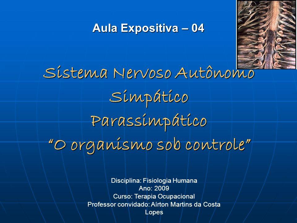 Aula Expositiva – 04 Sistema Nervoso Autônomo SimpáticoParassimpático O organismo sob controle Disciplina: Fisiologia Humana Ano: 2009 Curso: Terapia