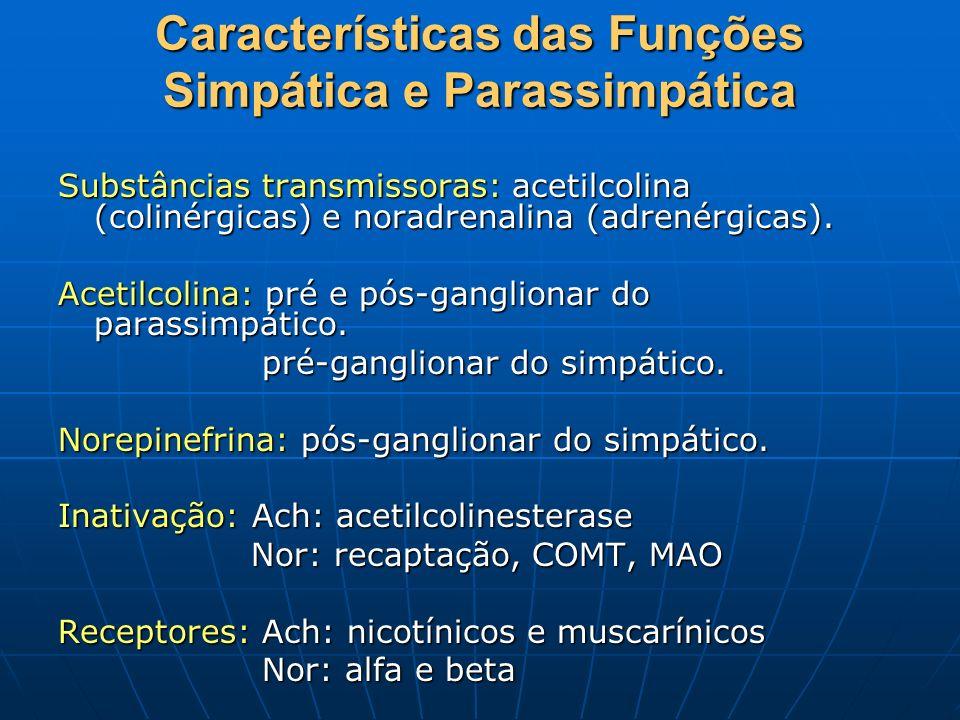 Características das Funções Simpática e Parassimpática Substâncias transmissoras: acetilcolina (colinérgicas) e noradrenalina (adrenérgicas). Acetilco