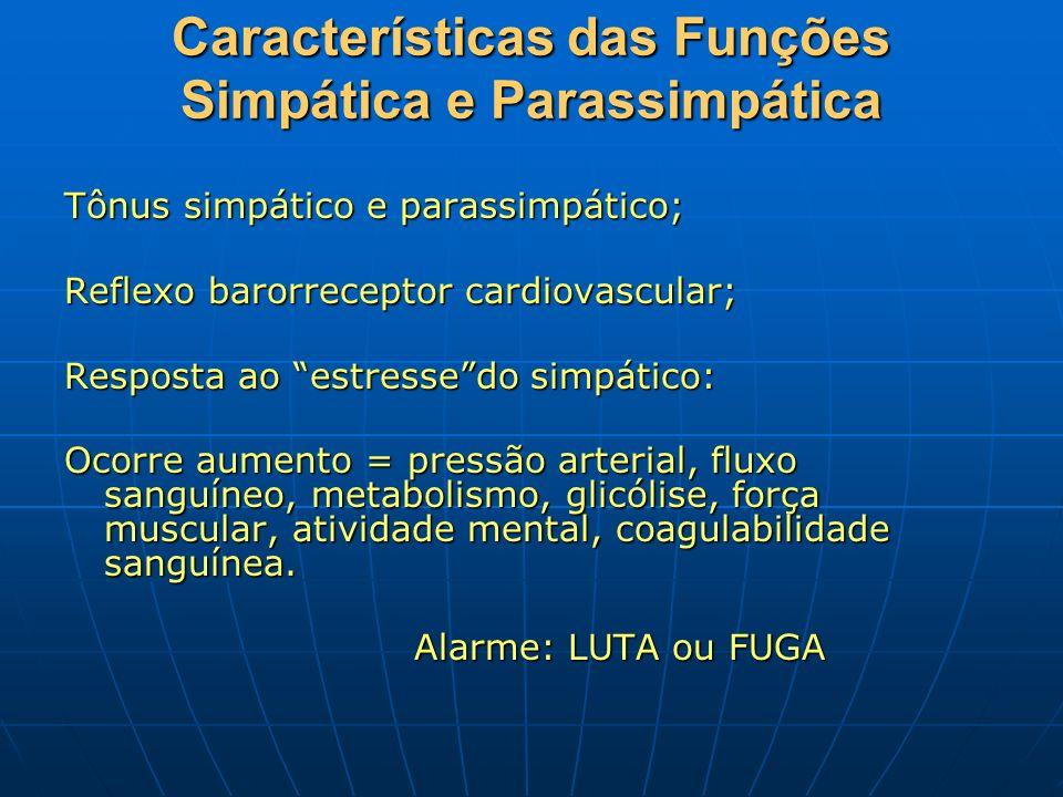 Características das Funções Simpática e Parassimpática Tônus simpático e parassimpático; Reflexo barorreceptor cardiovascular; Resposta ao estressedo